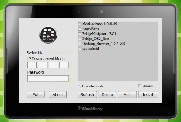 blackberry playbook install android apps