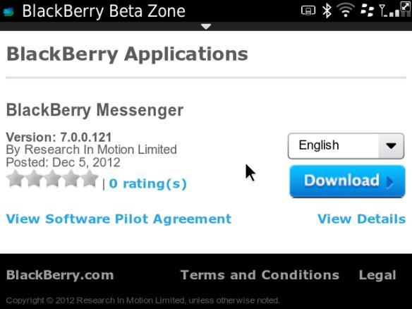 BlackBerry Messenger version 7 0 0 121 available for