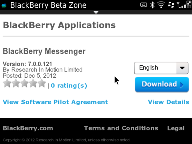 BlackBerry Messenger 7.0.0.121